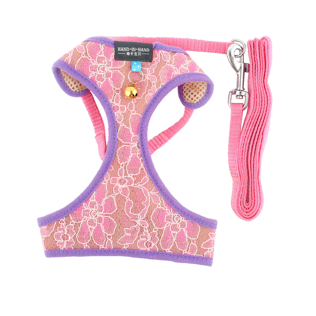 Pet Nylon Walking Control Vest Cat Puppy Dog Harnesses Collar Rope Pink Size XL