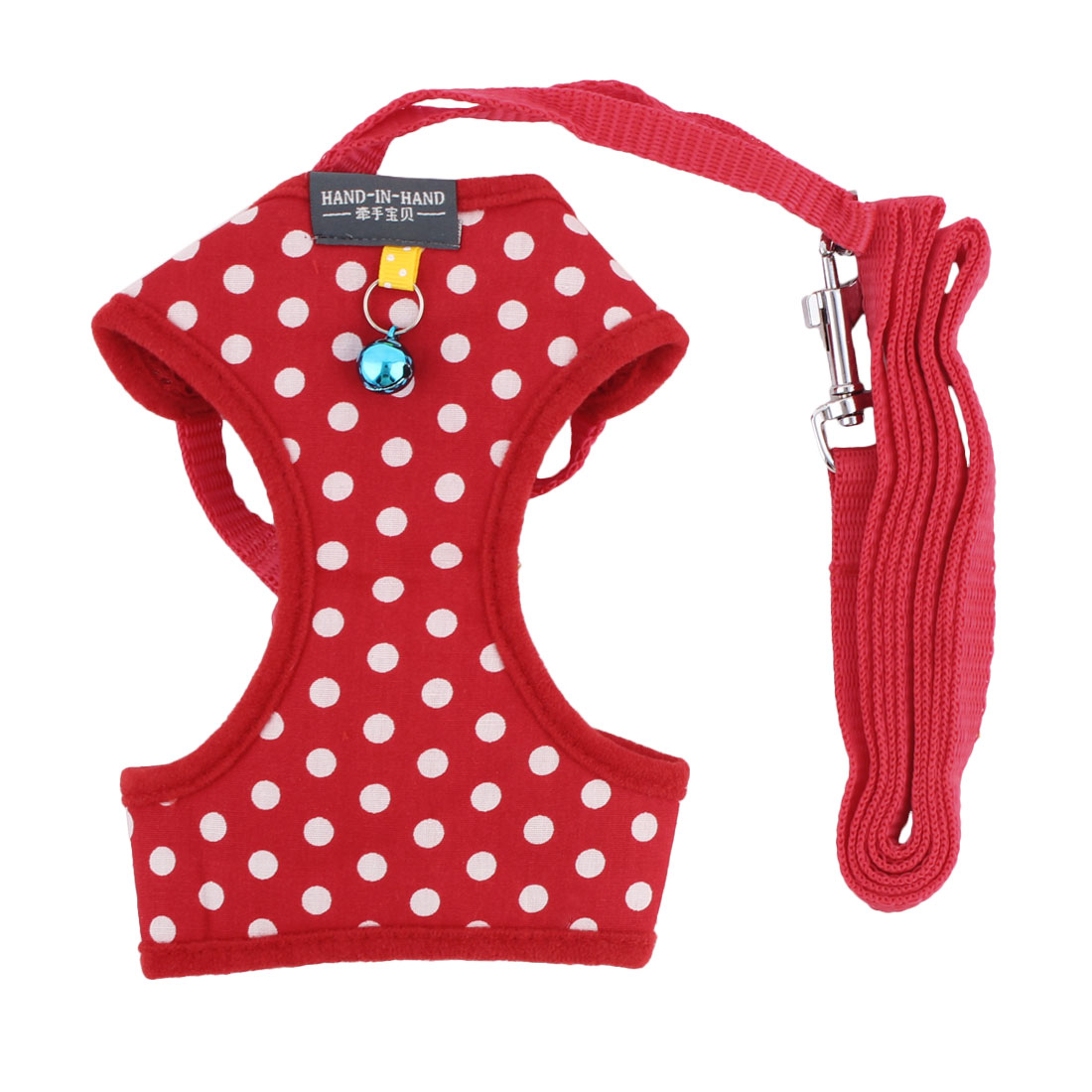 Dog Wave Point Partten Bell Decor Breathable Harness Vest Leash Red Size L