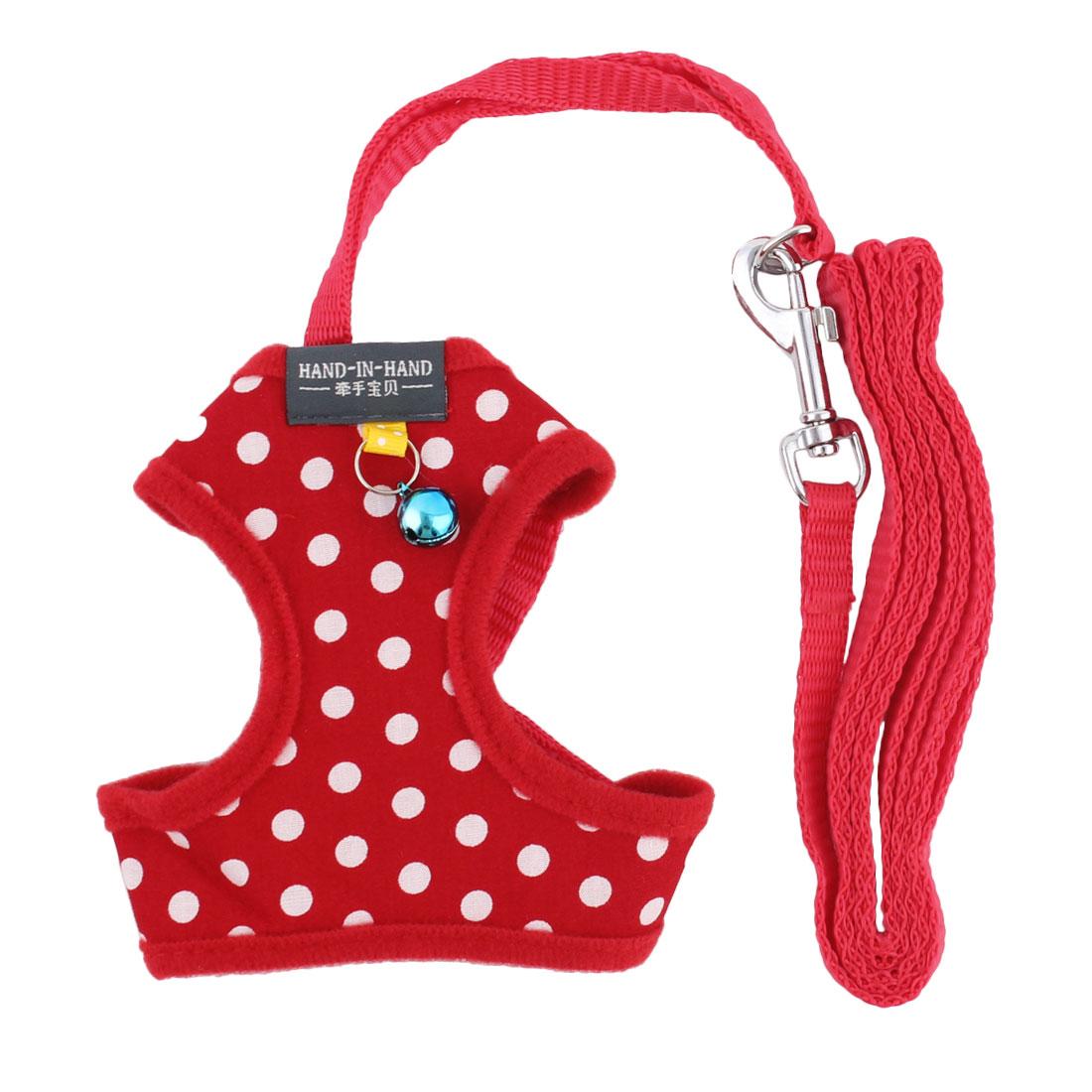 Dog Dress Wave Point Partten Bell Decor Breathable Harness Vest Leash Red Size S