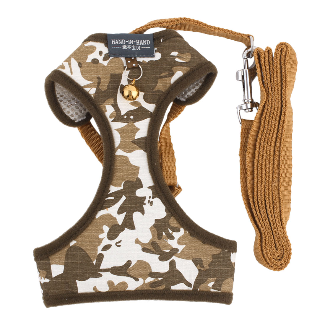 Dog Camouflage Cloth Bell Design Breathable Harness Vest Leash Size XL for Walking