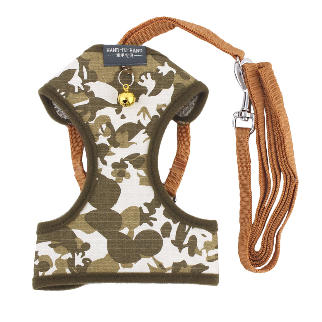 Dogs Supplies Camouflage Cloth Bell Design Breathable Harness Vest Leash Size L