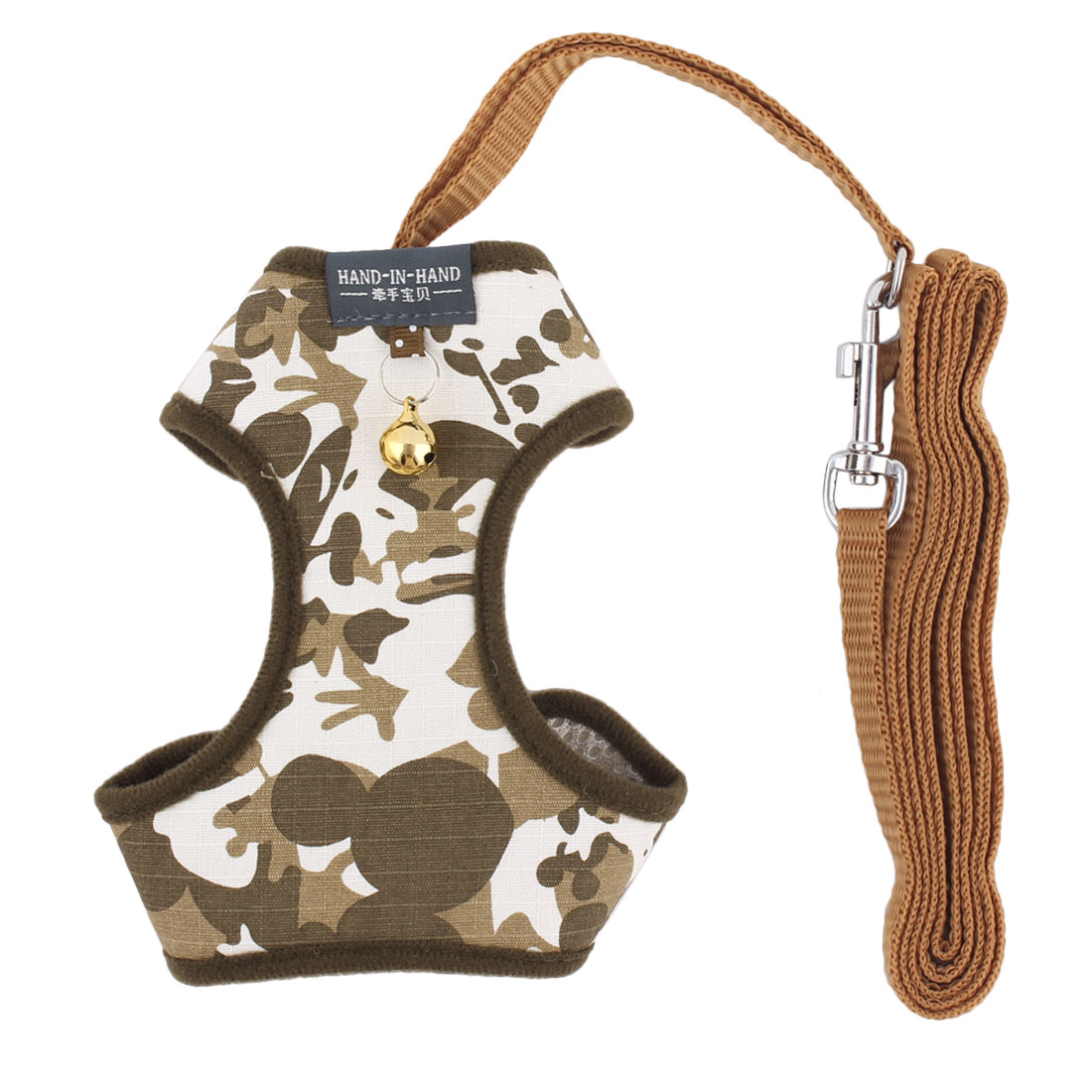 Dogs Accessories Camouflage Cloth Bell Design Breathable Harness Vest Leash Size M