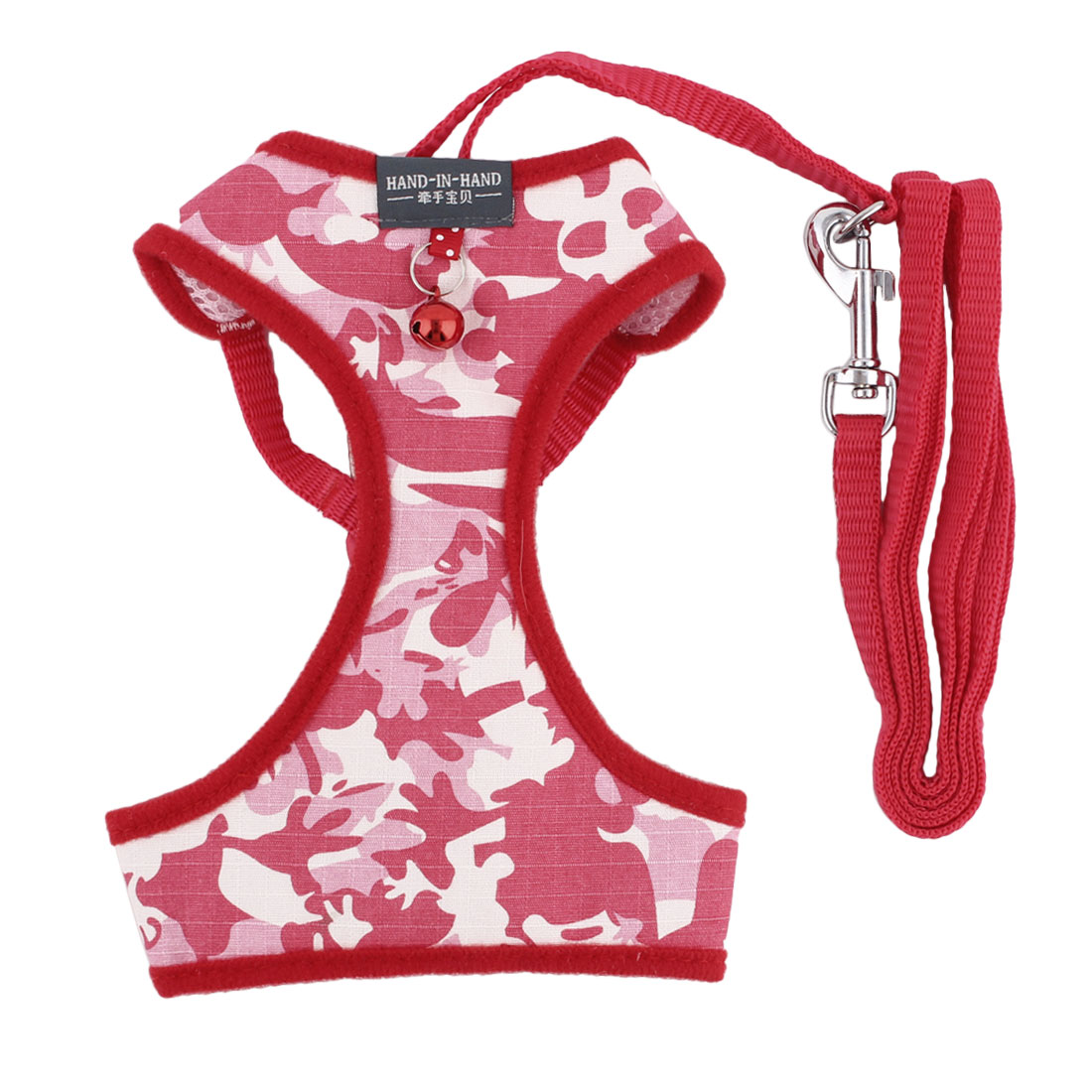 Dog Camouflage Cloth Mesh Breathable Harness Vest Leash Red Size XL