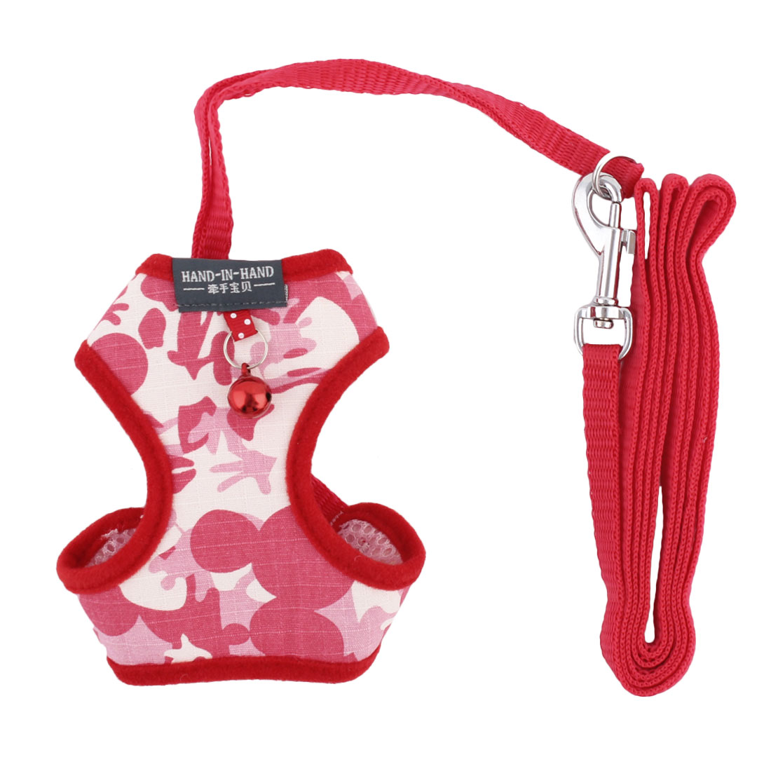 Dogs Camouflage Cloth Bell Design Breathable Harness Vest Leash Red Size S