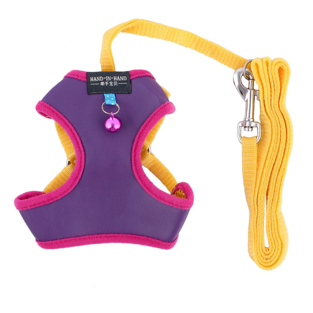Dog Walking Supplies Faux Leather Breathable Harness Vest Leash Purple Size S