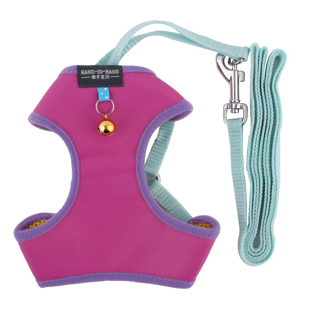 Dog Walking Supplies Faux Leather Adjustable Harness Vest Leash Fuchsia Size M