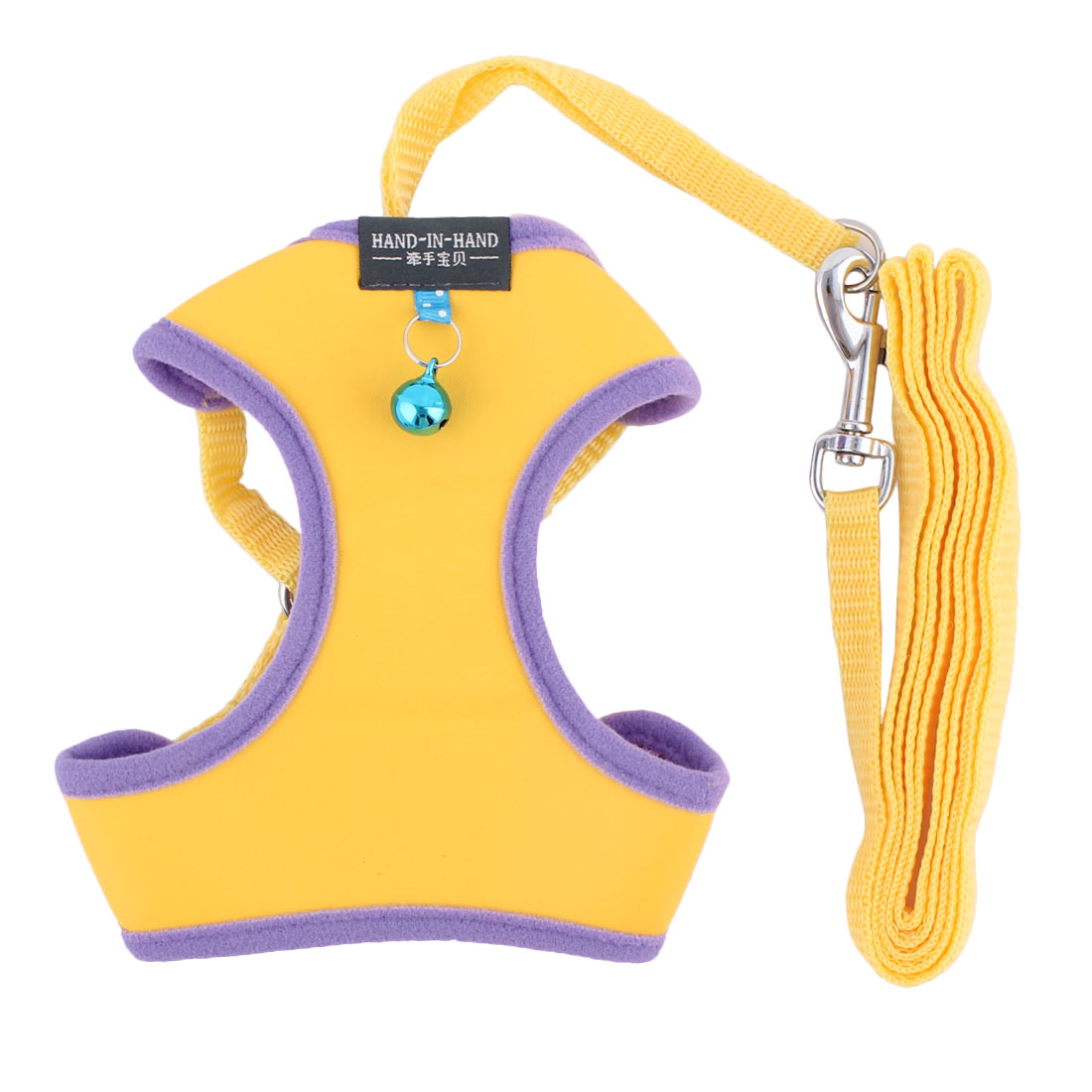 Dog Supplies Metal Bell Design Breathable Harness Vest Leash Yellow Size M