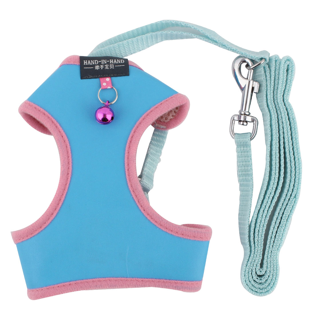 Dog Faux Leather Bell Design Breathable Harness Vest Leash Light Blue Size L