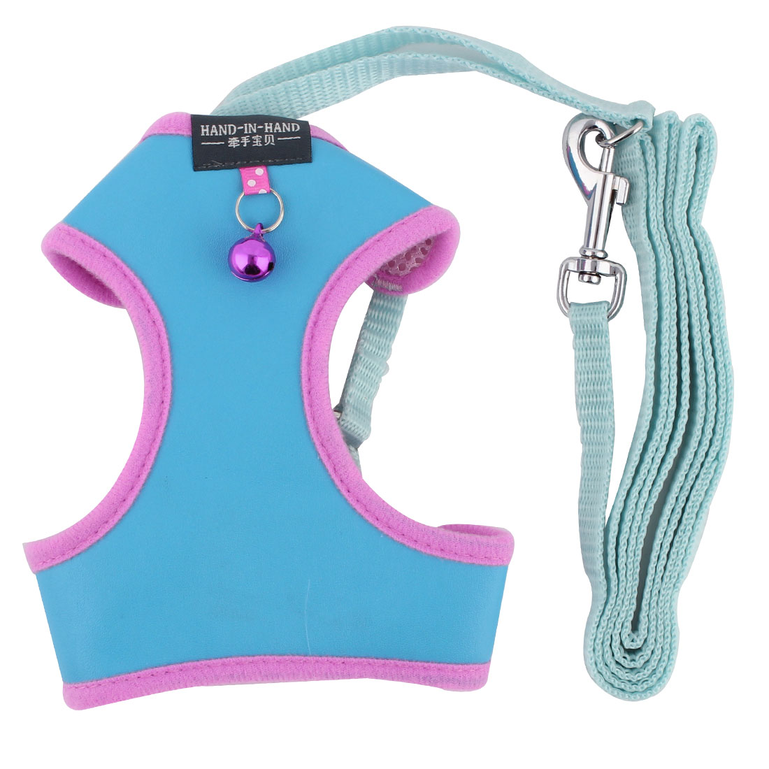 Pet Dress Faux Leather Bell Design Breathable Harness Vest Leash Light Blue Size M