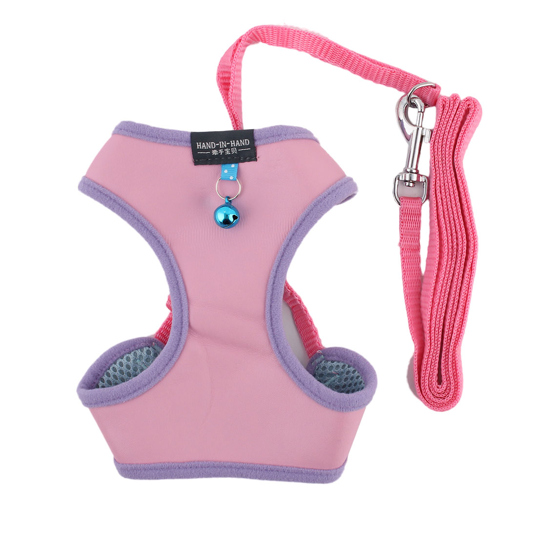 Dog Puppy Walking Faux Leather Breathable Harness Vest Leash Light Pink Size S