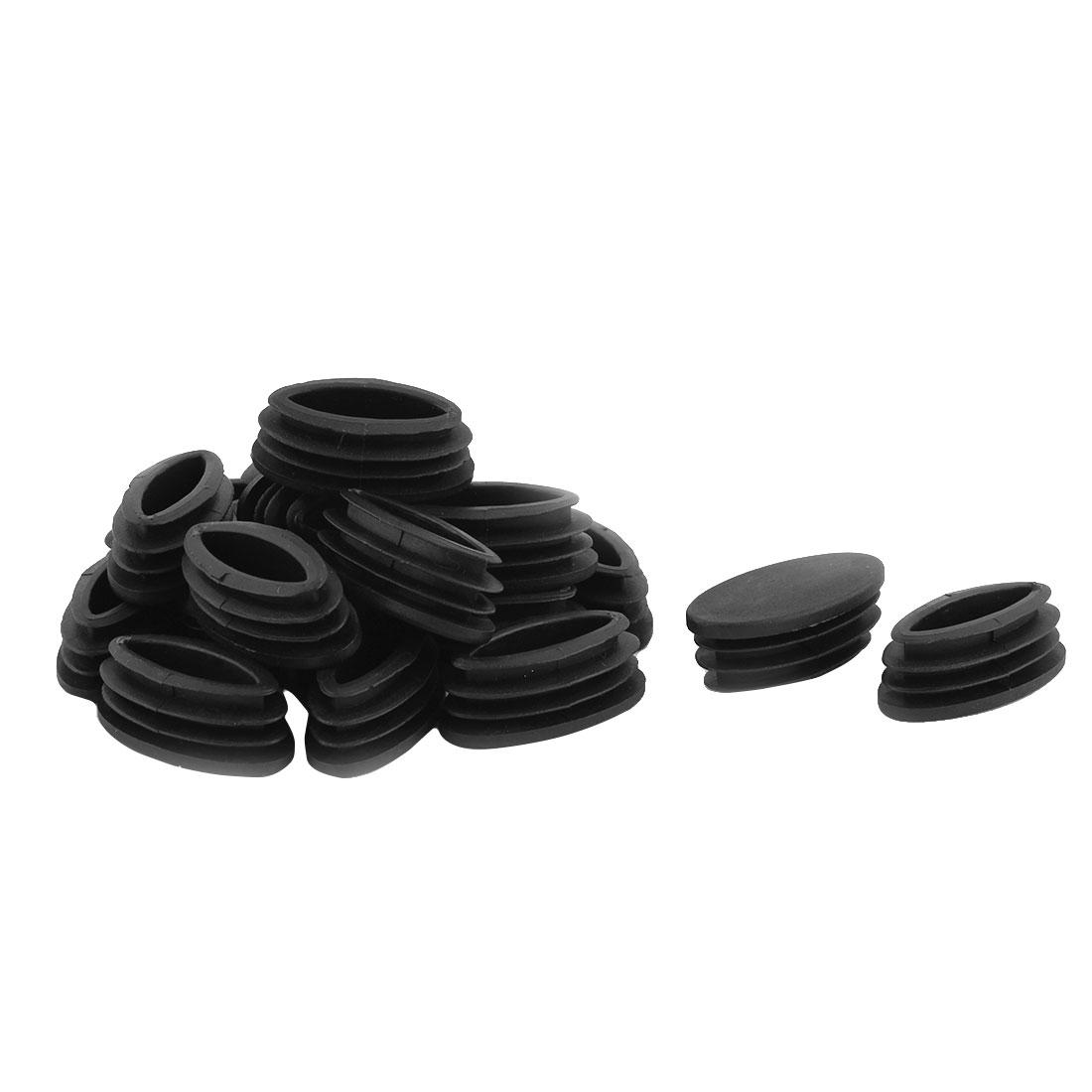 Table Feet Plastic Oval Design Tube Pipe Insert End Cap Black 20mm x 39mm 20 PCS