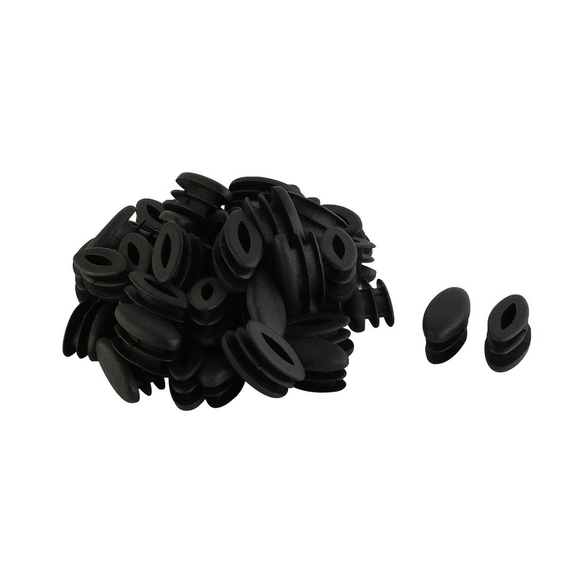 Table Feet Plastic Oval Design Tube Pipe Insert End Cap Black 15mm x 30mm 50 PCS