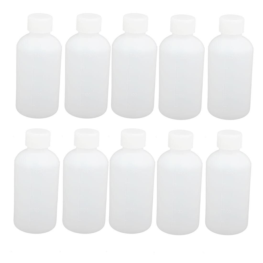 10pcs 60mm Dia 135mm Height 250ml HDPE Plastic Round Small Mouth Bottle White