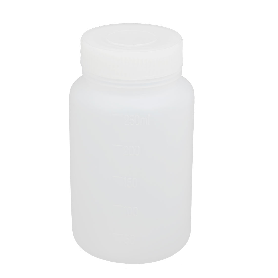 250ml 40mm Dia Wide Mouth HDPE Plastic Round Graduated Bottle White