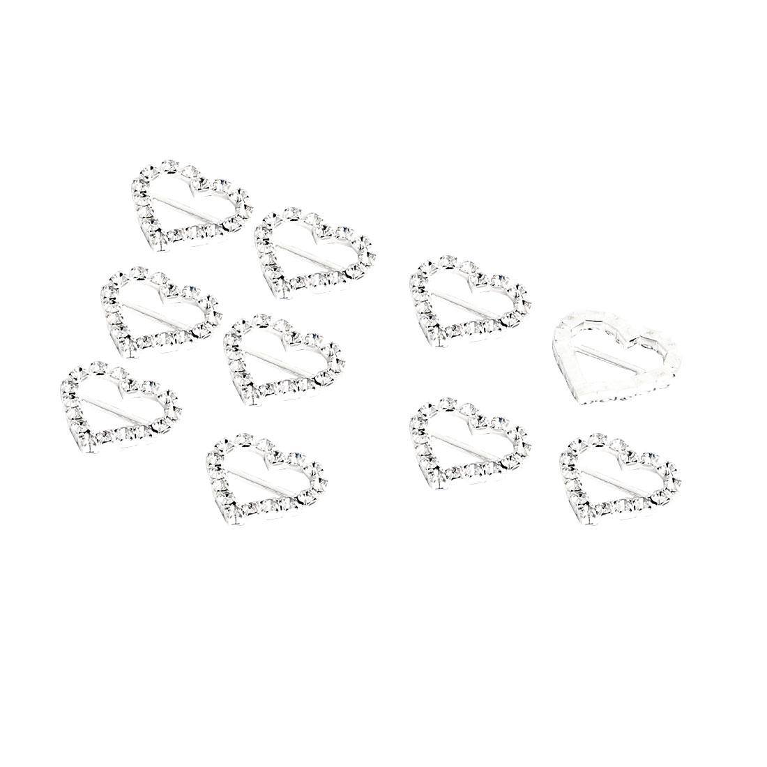Wedding Card Gift Ribbon Metal Heart Shaped DIY Adornment Rhinestone Buckle Slider 10pcs