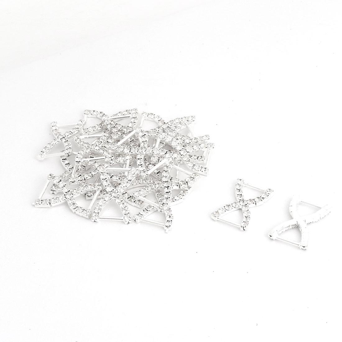 Gift Card Ribbon Metal Bowknot Design DIY Decoration Rhinestone Buckle Slider 20pcs
