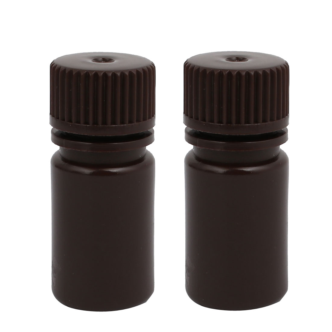 15ml 13mm Diameter HDPE Plastic Round Wide Mouth Laboratory Bottle Brown 2pcs