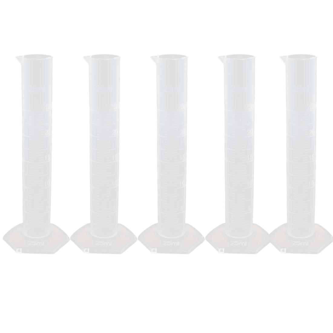 25mL Plastic Hex Base Measurement Measuring Graduated Cylinder Clear 5pcs