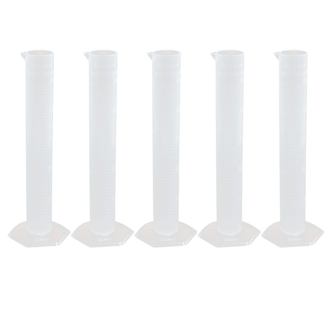 50mL PP Hex Base Measurement Measuring Graduated Cylinder Clear 5pcs