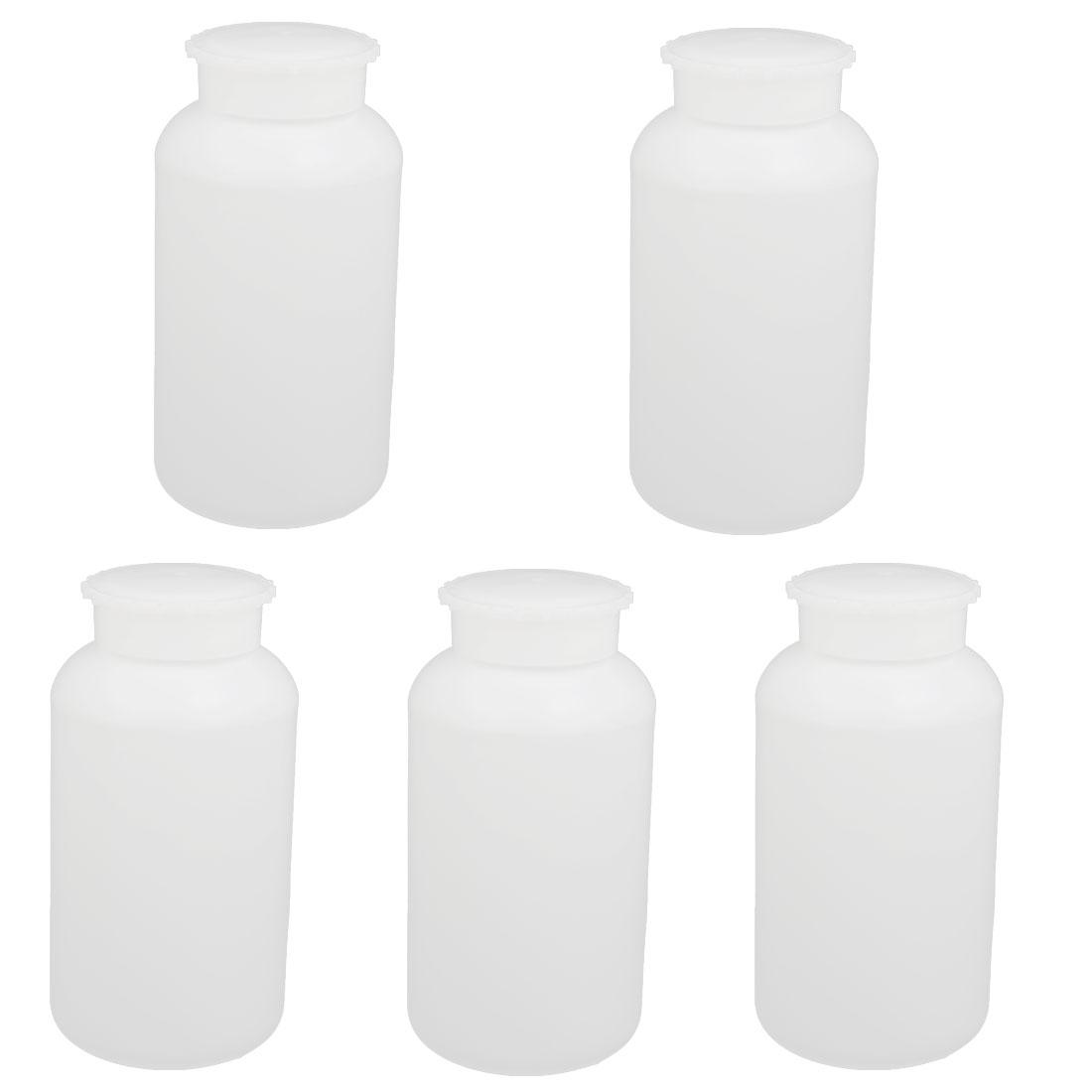 5pcs 1000ml Plastic Wide Mouth Round Laboratory Reagent Sample Bottle White