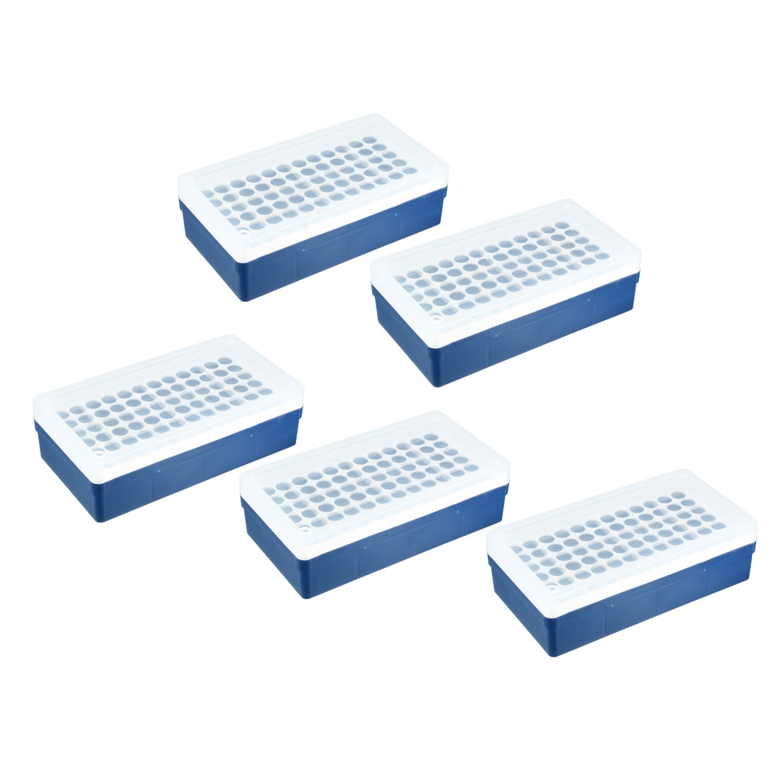 72-Well Centrifuge PCR Tube Holder Rack Storage Box Case Blue Clear 5pcs