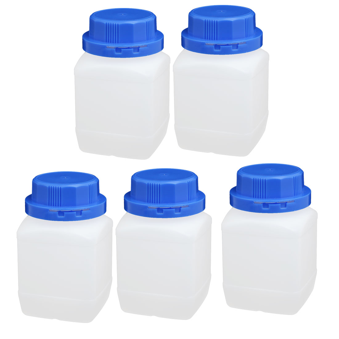 5pcs 450ml Plastic Square Wide Mouth Chemical Sample Reagent Bottle Thickening
