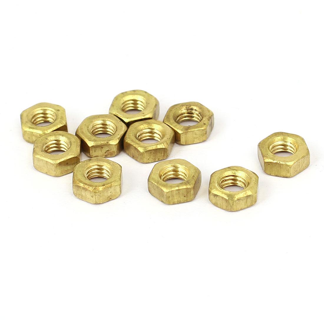 M4 Brass Finished Metric Hex Nut Fastener Brass Tone 10pcs