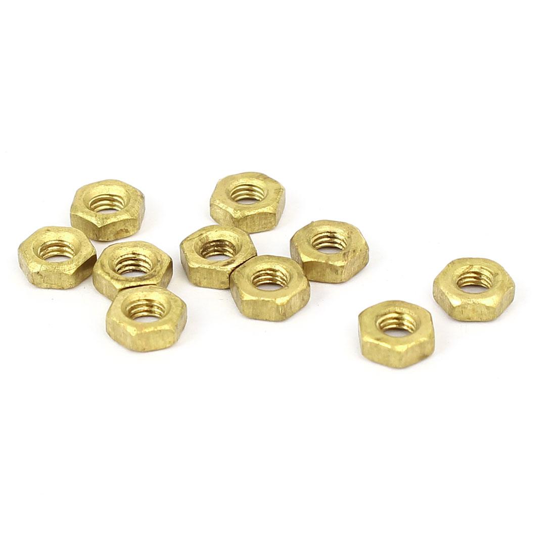 M3 Brass Finished Metric Hex Nut Fastener Brass Tone 10pcs
