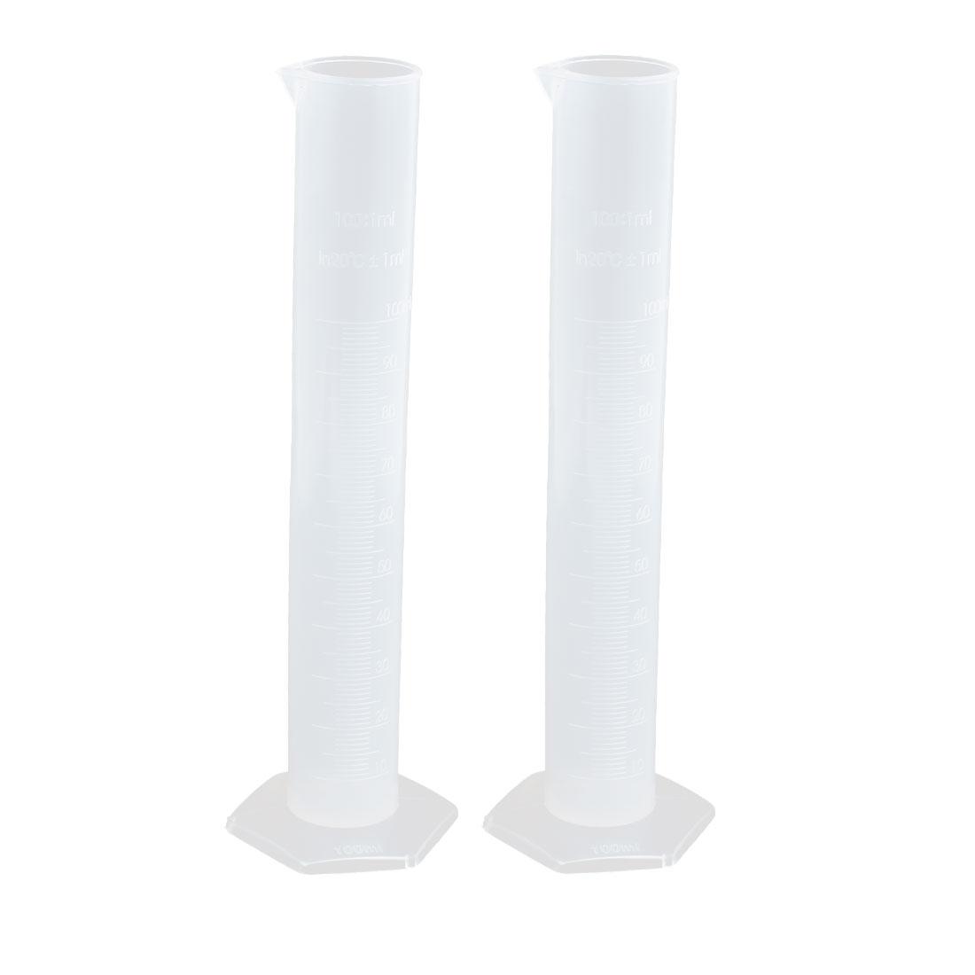 100mL PP Hex Base Measurement Measuring Graduated Cylinder Clear 2pcs