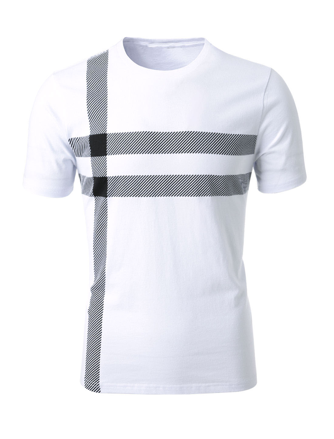Men Striped Short Sleeves Crew Neck Tee Shirt White S