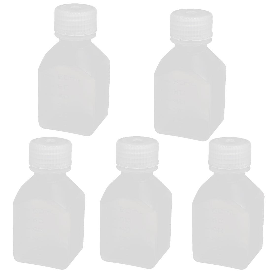 60ml 17mm Diameter PE Plastic Oblong Shaped Wide Mouth Bottle Clear 5pcs