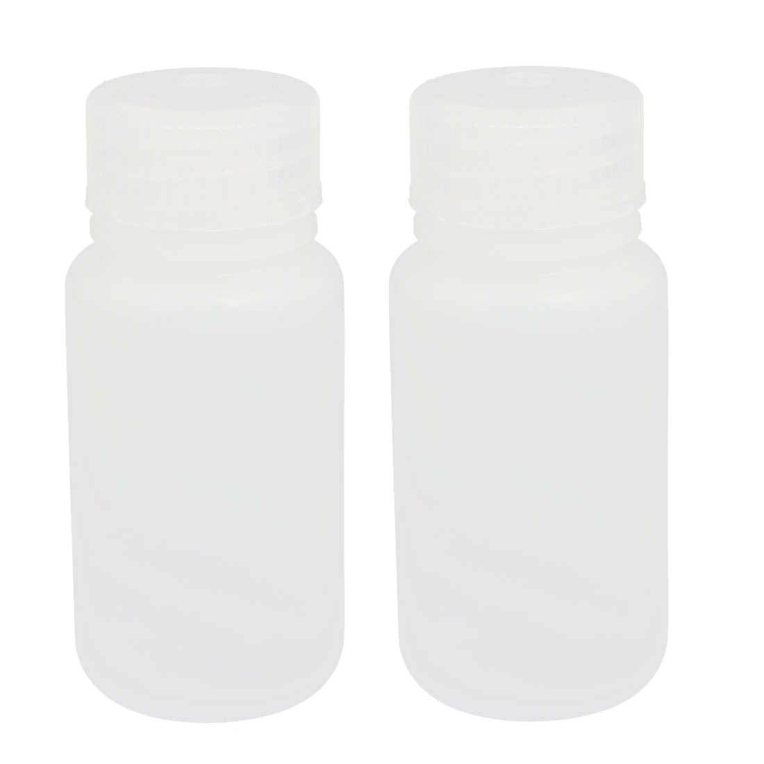 2pcs 50ml Plastic Round Laboratory Reagent Bottle Sample Thicken Bottle White