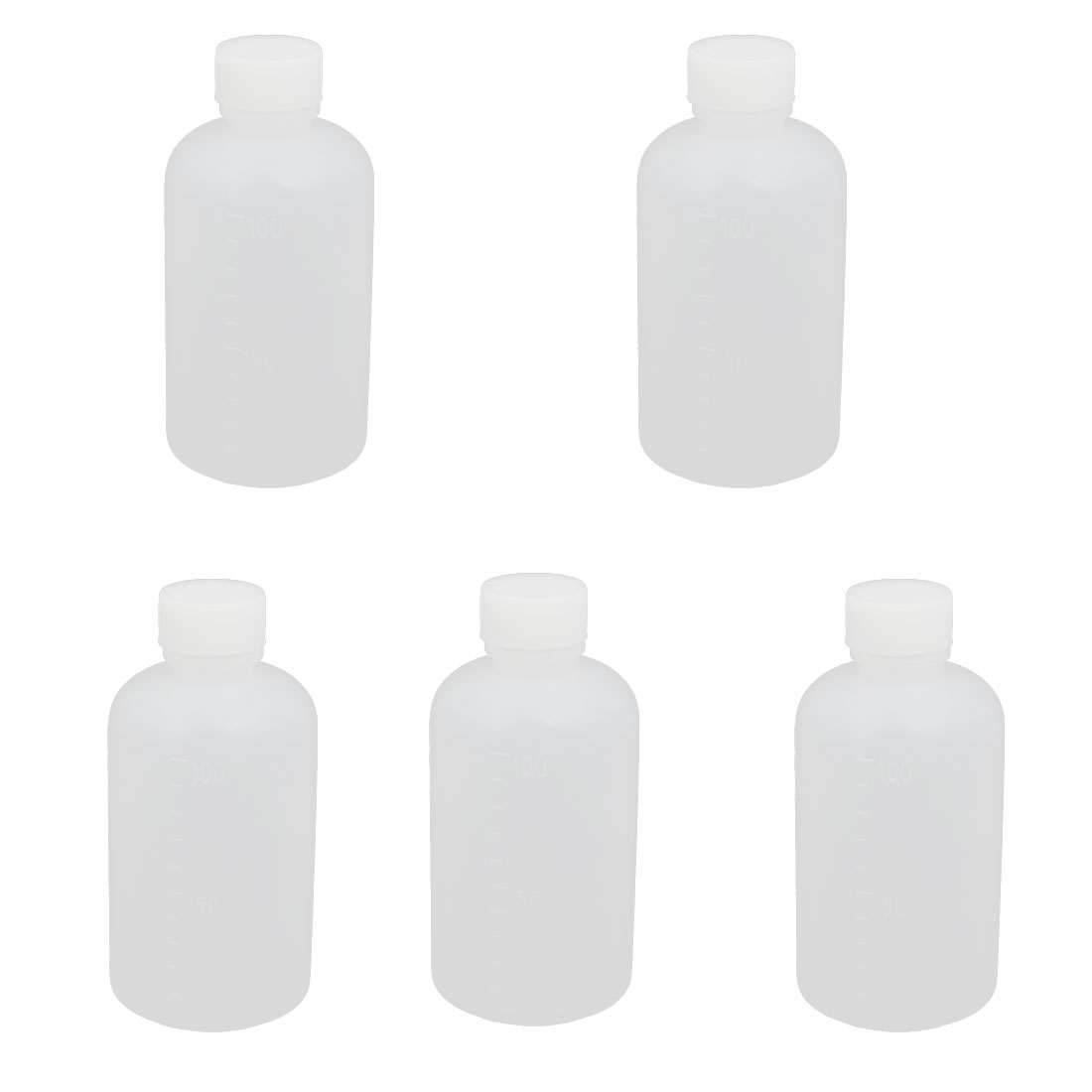100ml 13mm Diameter PE Plastic Round Narrow Mouth Bottle Clear 5pcs