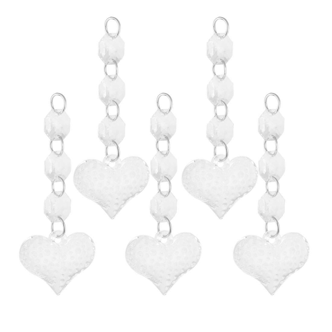 Home Livingroom Plastic Heart Shaped Sparkling Chandelier Crystal Pendant 5 Pcs