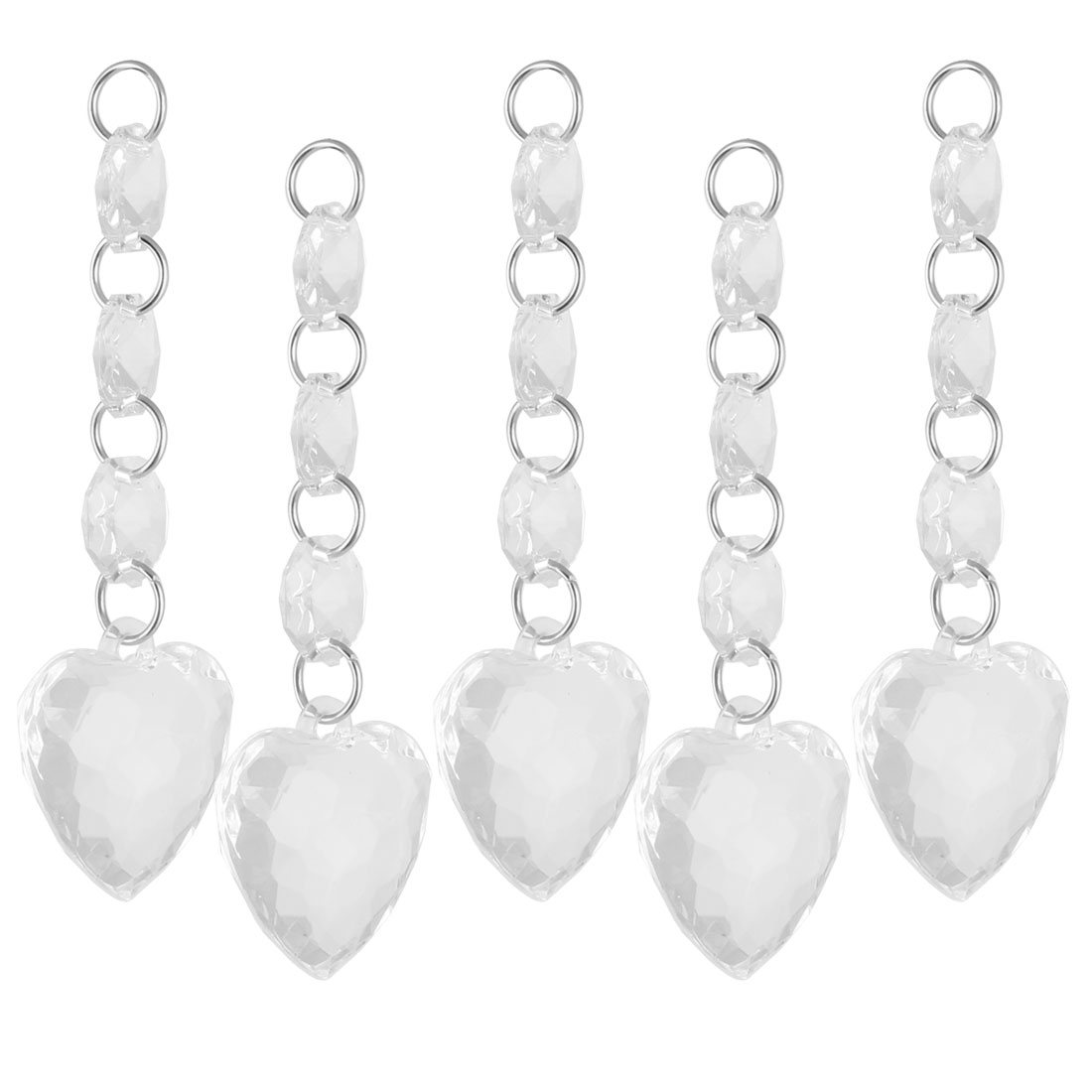 Home Office Hall Plastic Heart Shaped Sparkling Chandelier Crystal Pendant 5 Pcs