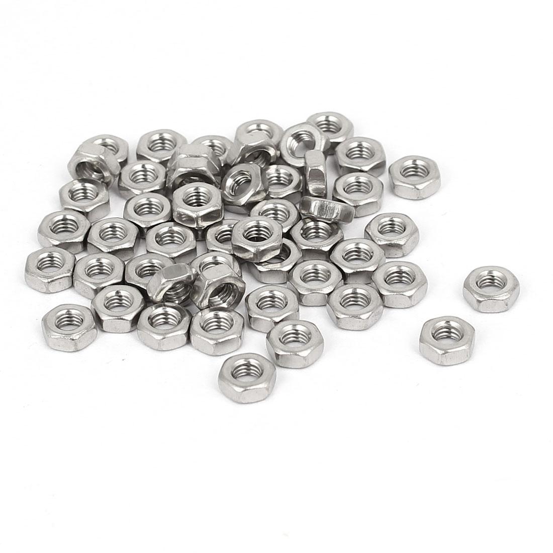 M3 x 2mm 304 Stainless Steel Machine Screw Hex Hexagon Nuts Fastener 50pcs