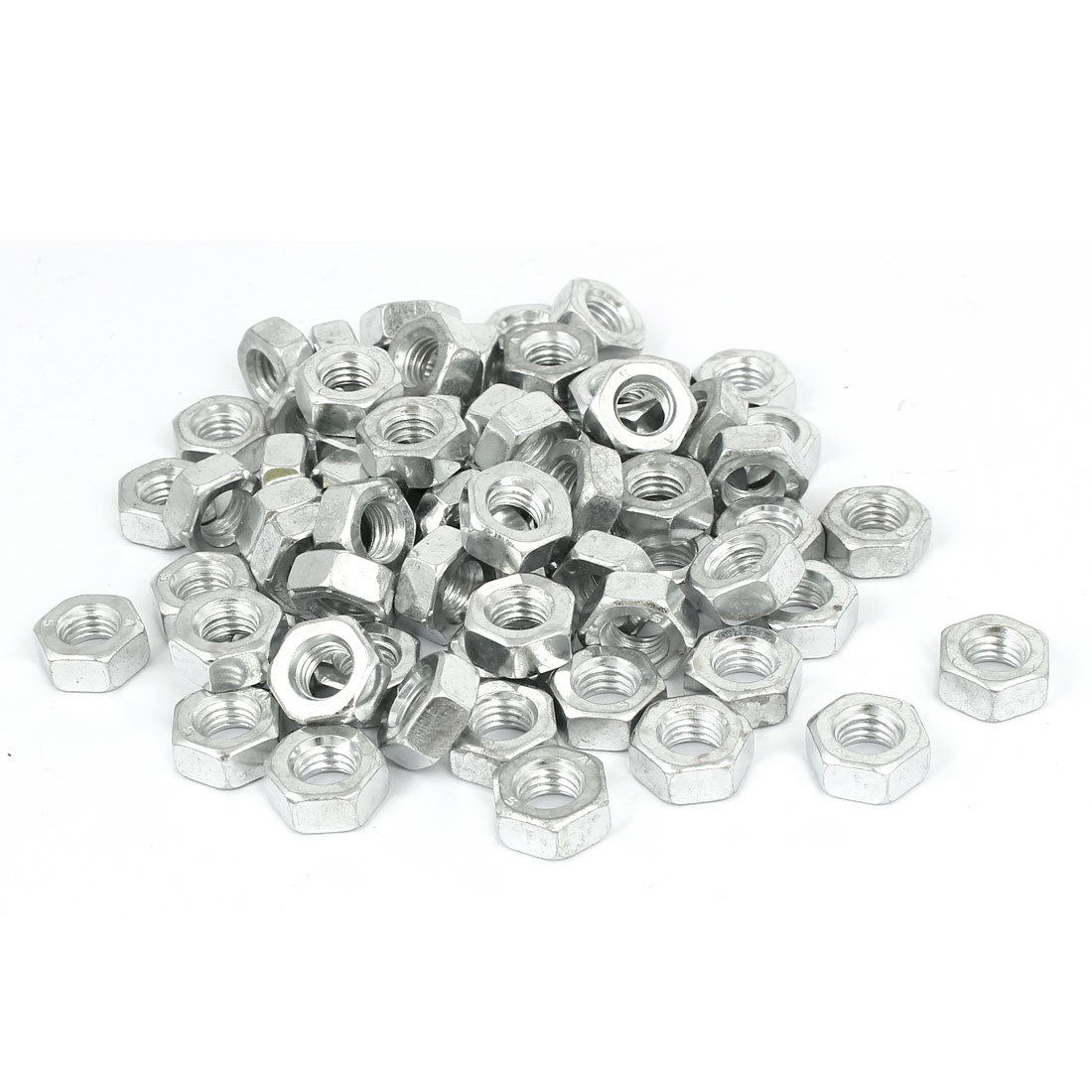 M10 x 8mm Iron Zinc Plated Machine Screw Hex Hexagon Nuts Fastener 100pcs