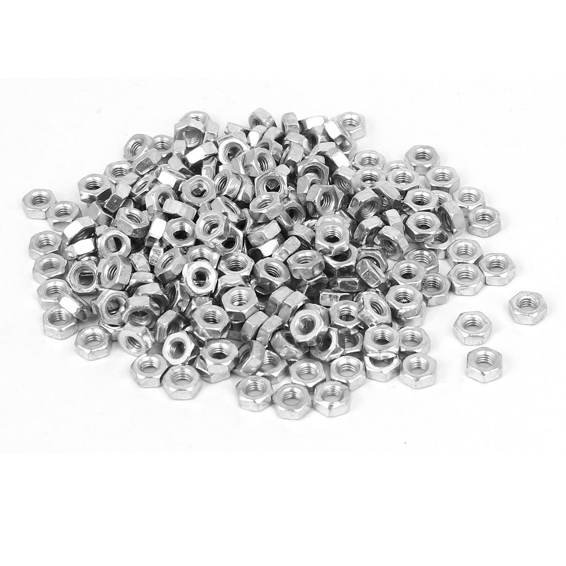 M3 x 2.5mm Iron Zinc Plated Machine Screw Hex Hexagon Nuts Fastener 200pcs