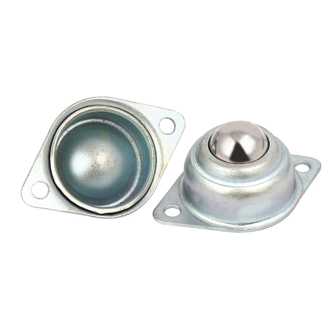 Metal Flange Mounted Conveyor Roller Ball Bearing Transfer Unit Silver Tone 2pcs