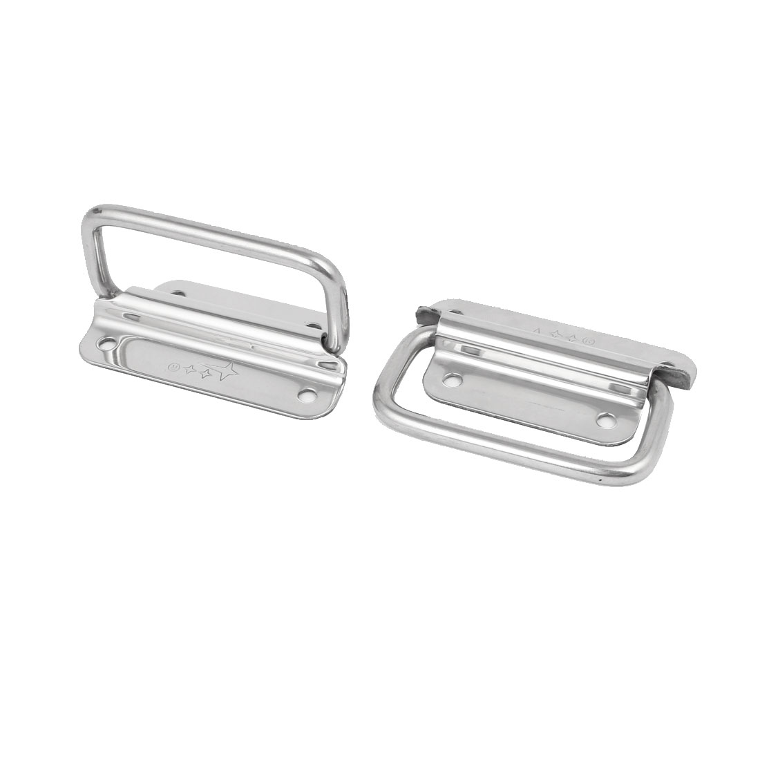 Toolbox Stainless Steel Chest Handle Grip Puller Silver Tone 75mmx65mmx12mm 2pcs