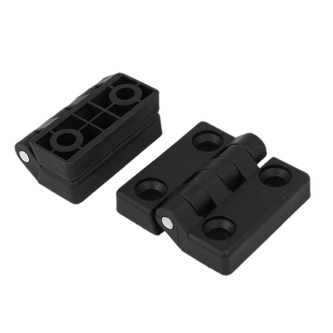 Toilet Bathroom Plastic Door Bearing Hinge Black 50mm x 48mm x 15mm 2pcs