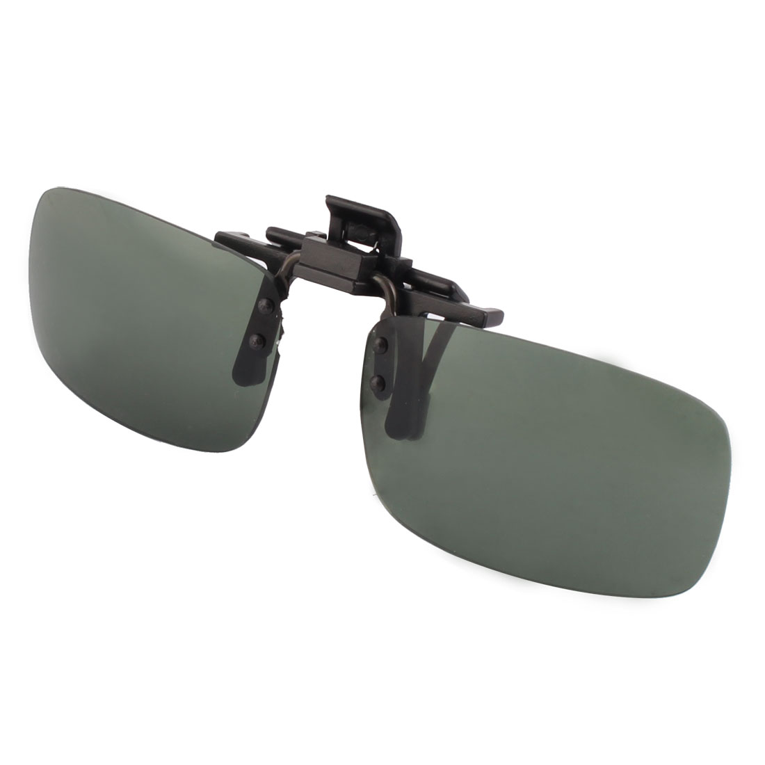 Unisex Plastic Rectangle Shaped Rimless Lens Clip On Polarized Sunglasses Glasses Dark Green