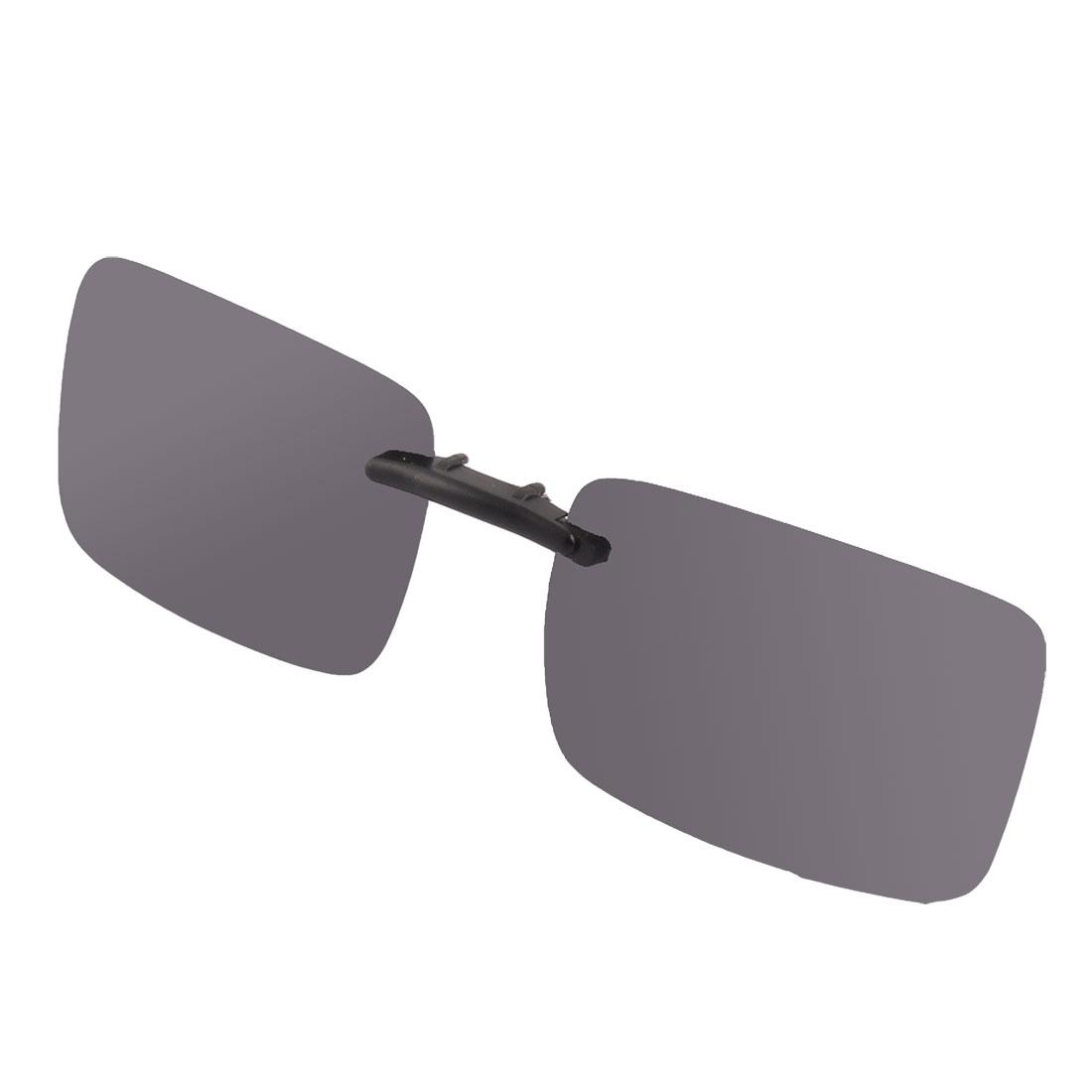 Woman Man Plastic Rimless Lens Clip On Polarized Sunglasses Glasses Dark Gray