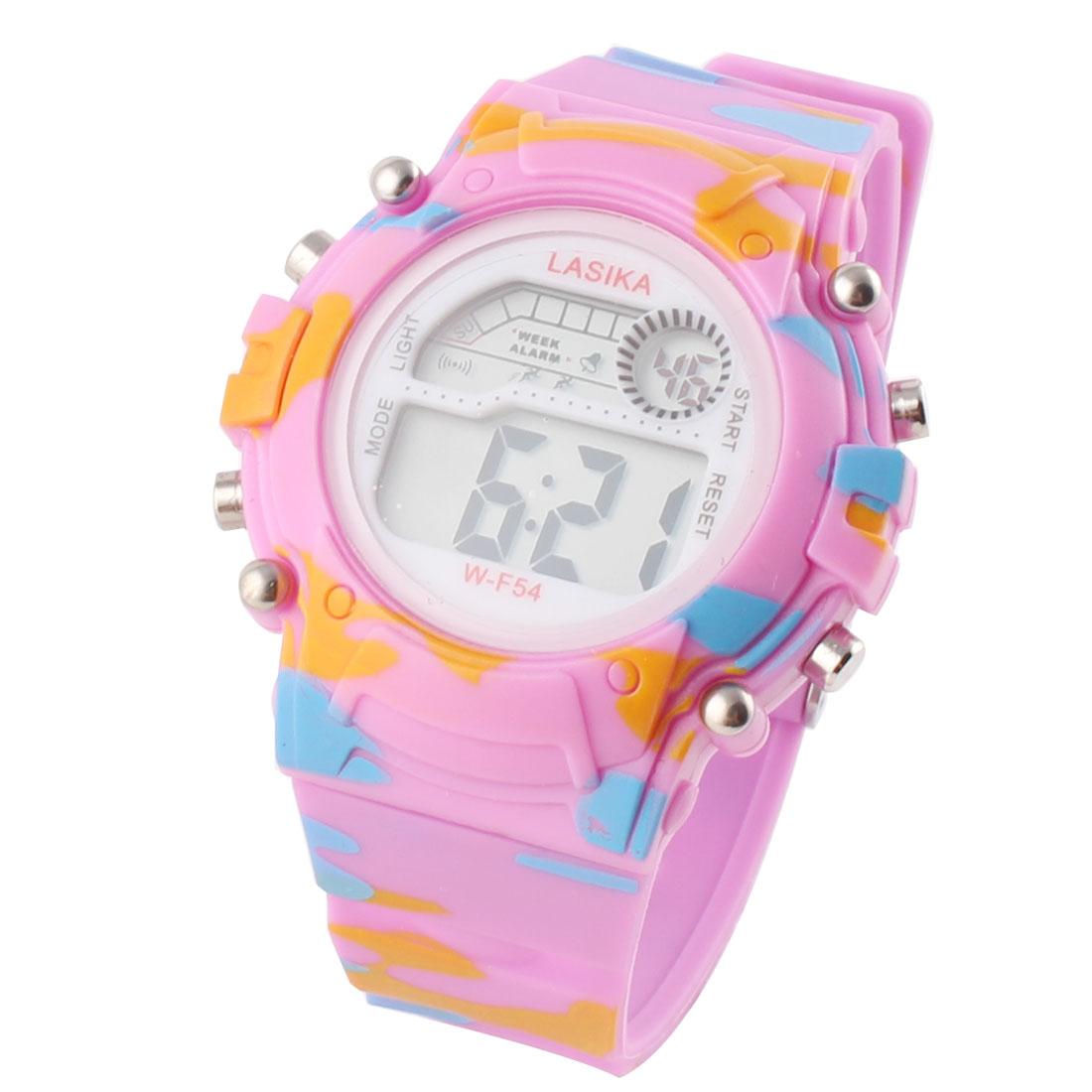 Woman Plastic Round Dial Adjustable Watchband Sports Wrist Watch Stopwatch Fuchsia