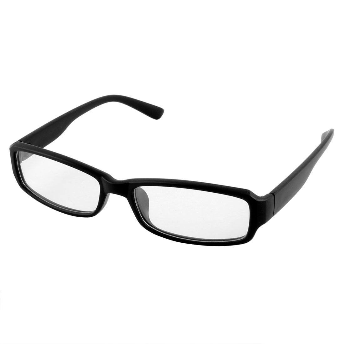 Home Writing Outdoor Unisex Plastic Rectangle Shaped Single Bridge Plain Glasses Black