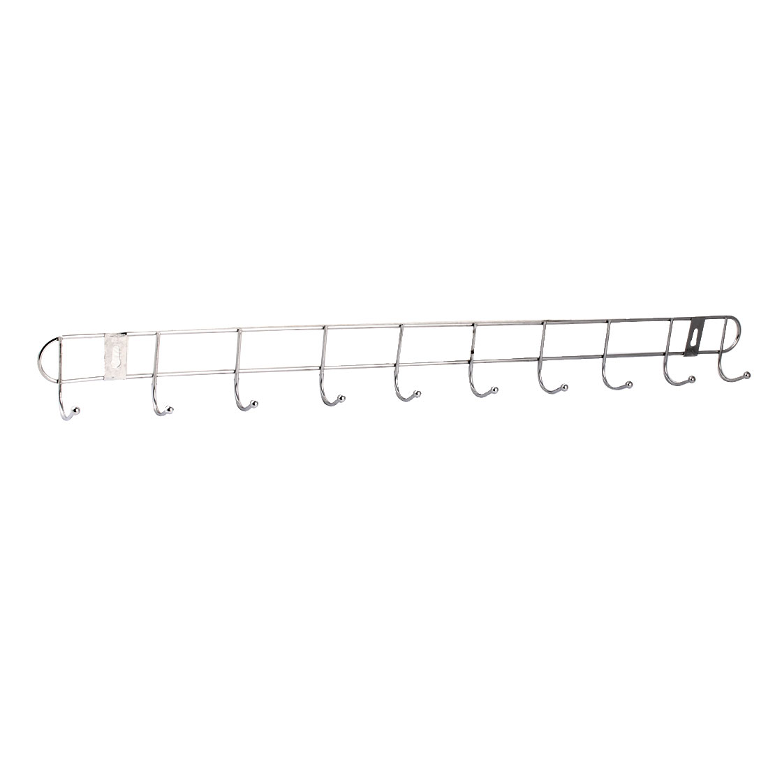 Household Metal 10 Hooks Towel Cap Clothes Rack Hanger Holder Silver Tone