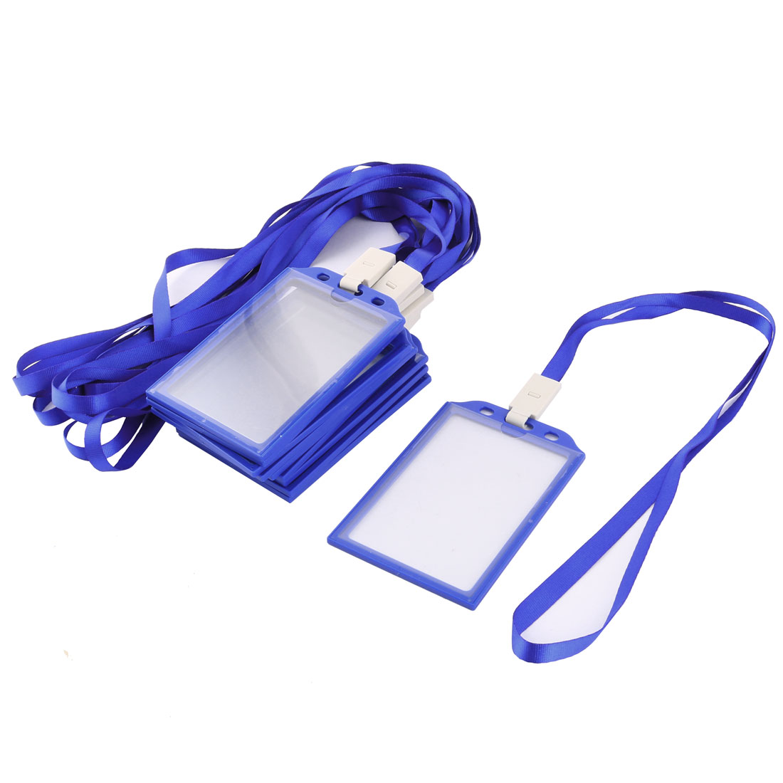Office Plastic Vertical ID Card Name Tag Neck Strap Lanyard Badge Holder Blue 10Pcs