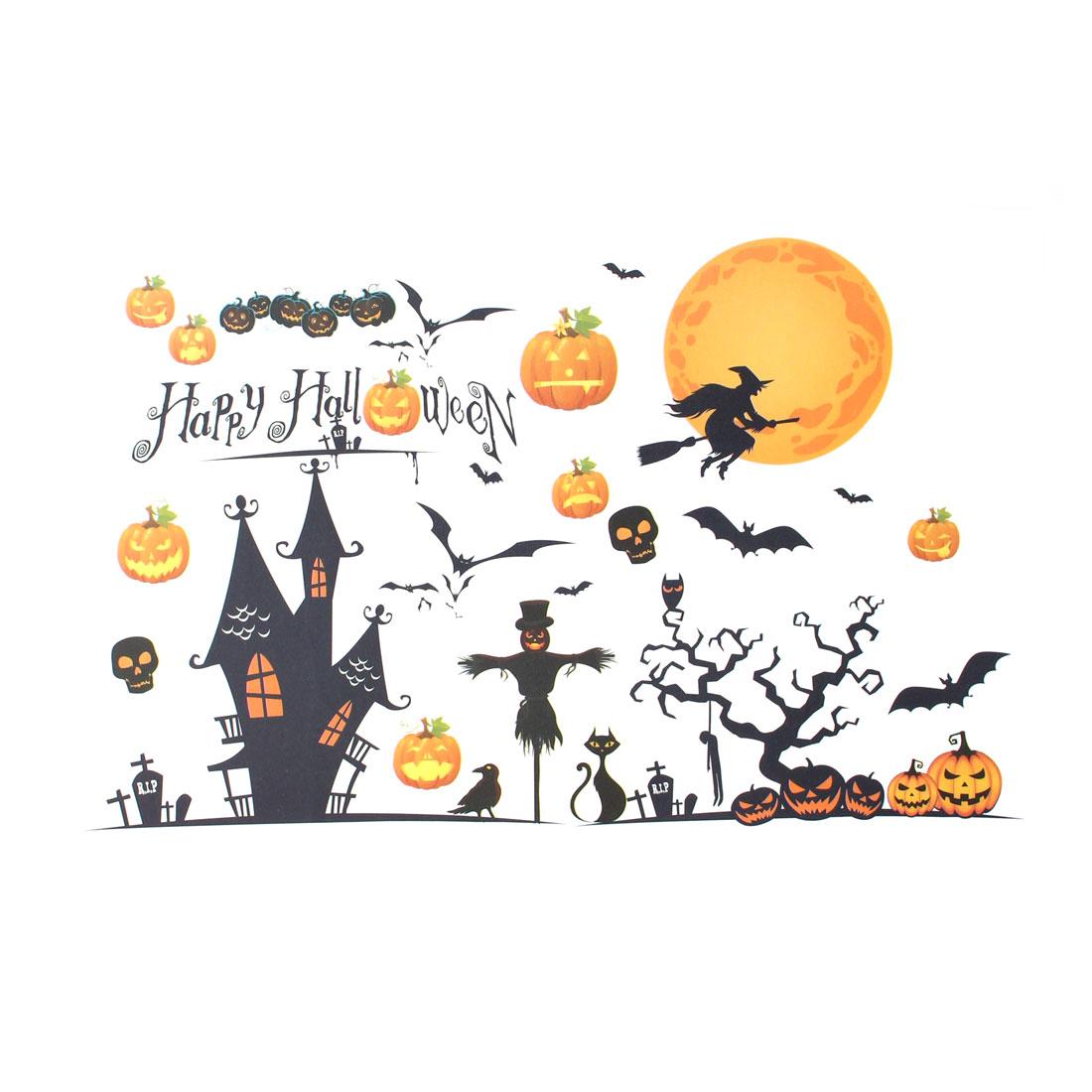 Holiday Festival Home Decoration Halloween Pumpkin Witch Bat Decorative Wall Sticker