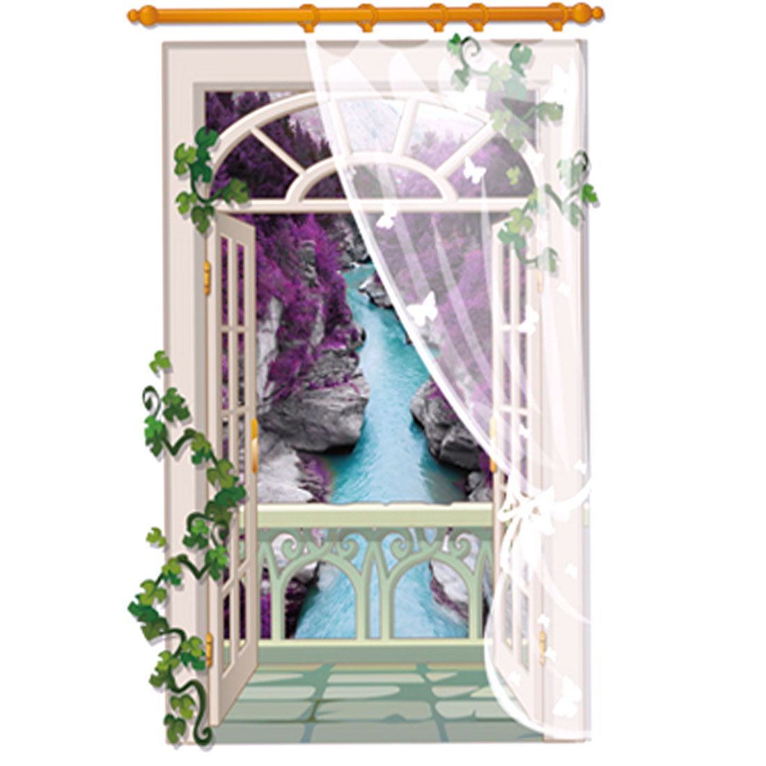 Home Living Room 3D Window Scene DIY Decorative Self Adhesive Wall Sticker Decor