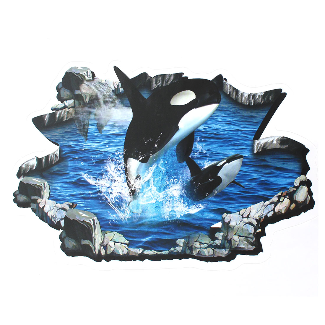 Home Living Room Wall Ceiling 3D Jumping Dolphin Pattern DIY Decorative Sticker
